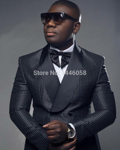 Men Black Double Breasted  Suit With Pants Tuxedo For Men - African Clothing Online