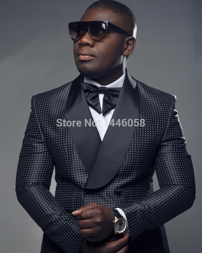 Men Black Double Breasted  Suit With Pants Tuxedo For Men
