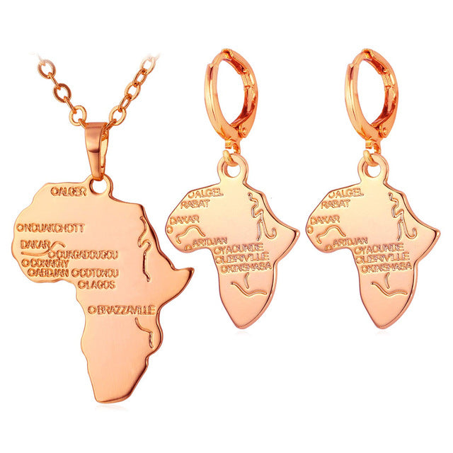 U7 Hot Africa Map Necklace Set  Women Trendy Gold/Silver Color Pendant Necklace Earrings African Jewelry Sets S863 - African Clothing Online