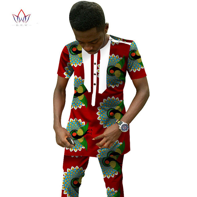 Traditional African Clothing Men's Set Short Sleeve Wax Tops & Dashiki Pants Ankara Fashions Africa Clothing Plus Size 6XL