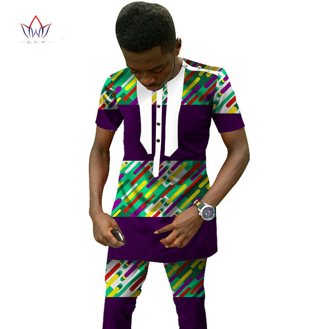 african-clothing-online,Traditional African Clothing Men's Set Short Sleeve Wax Tops & Dashiki Pants Ankara Fashions Africa Clothing Plus Size 6XL,African Clothing Online,Dashiki