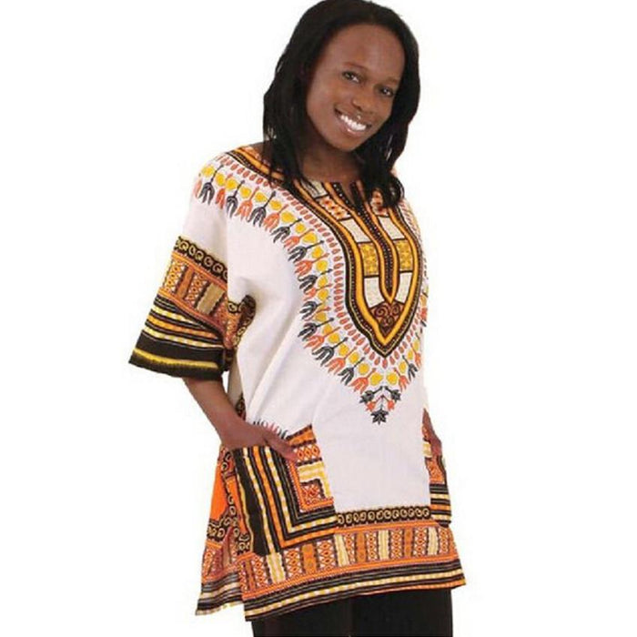Plus Size Women Clothing 2017 Summers Fashion Women Blouse Casual Loose Ethnic Style African Print Dashiki Pocket Blouse Tops