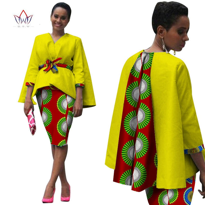Africa Style Women African Clothing Two Piece Set Dress Suit for Women Tops Jacket and Print Skirt Bazin Riche Clothing