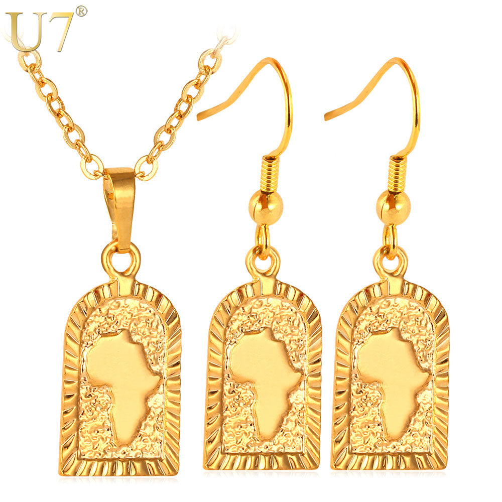 african-clothing-online,U7 African Jewelry Set Wholesale Gold Color Africa Map Party Earrings Necklace Set For Women S539,African Clothing Online,ArtWork