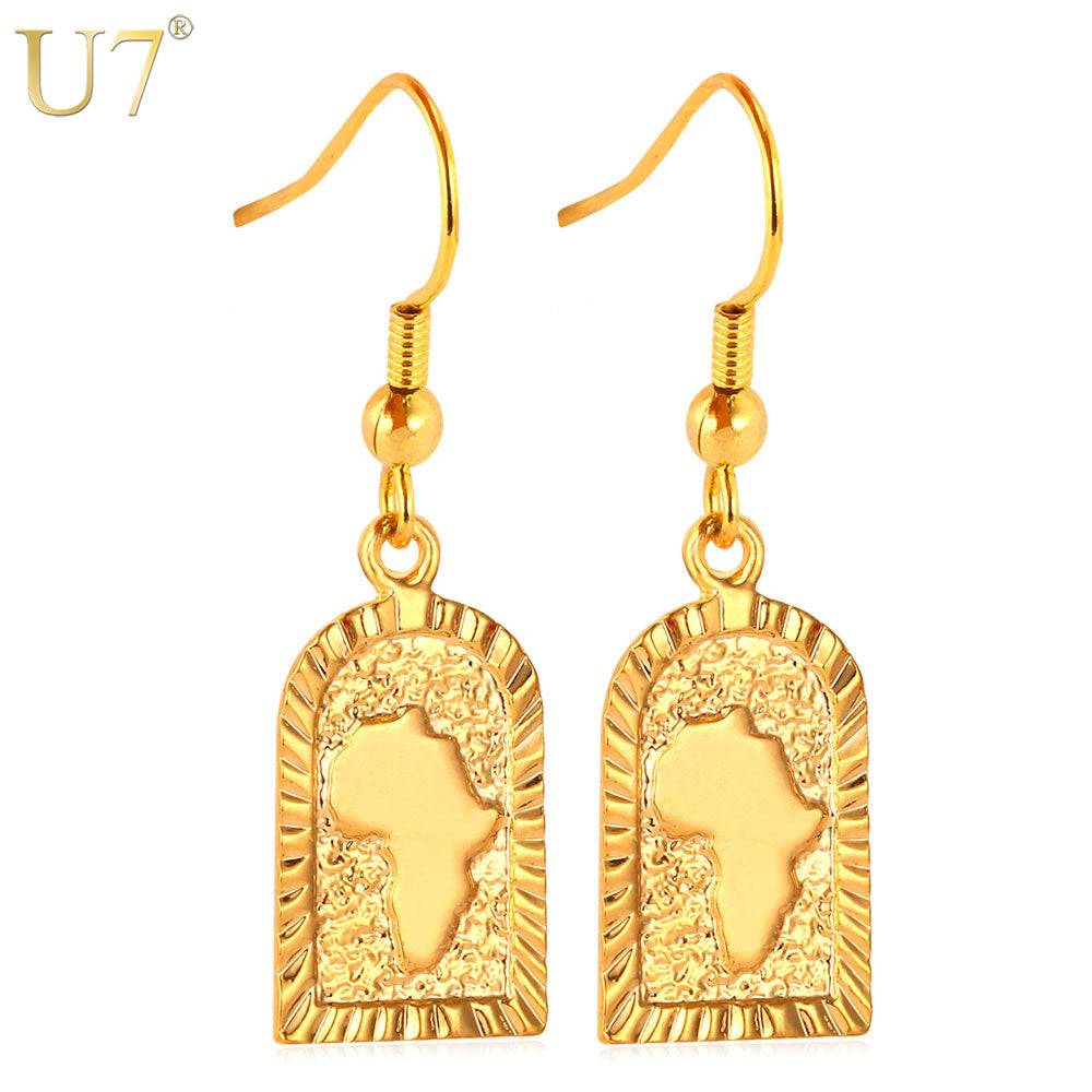 african-clothing-online,U7 African Jewelry Drop Earrings Wholesale Gold Color Hiphop Africa Map Earrings For Women E470,African Clothing Online,ArtWork