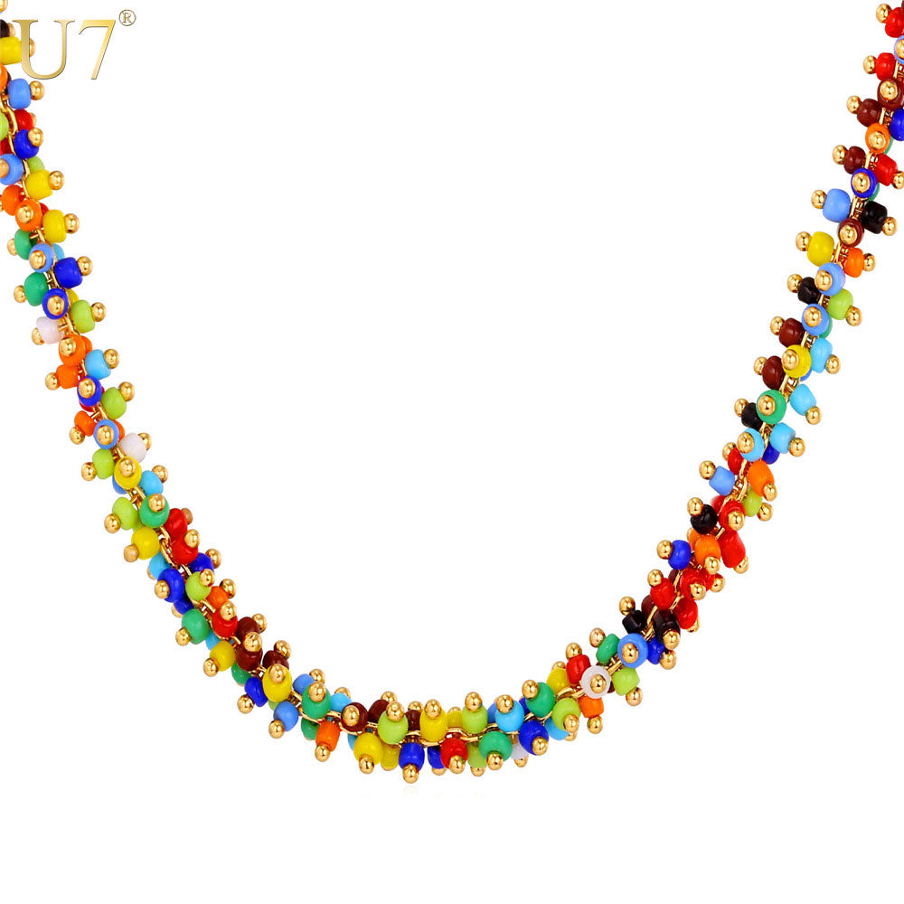 U7 African Coral Bead Necklace Women Fashion Jewelry Wholesale Trendy 2 Size Colorful Bead Necklaces Pendant N470