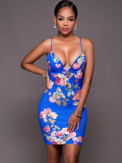 african-clothing-online,Strappy Floral Printed Women's Party Dress,African Clothing Online,African Dresses and Skirts