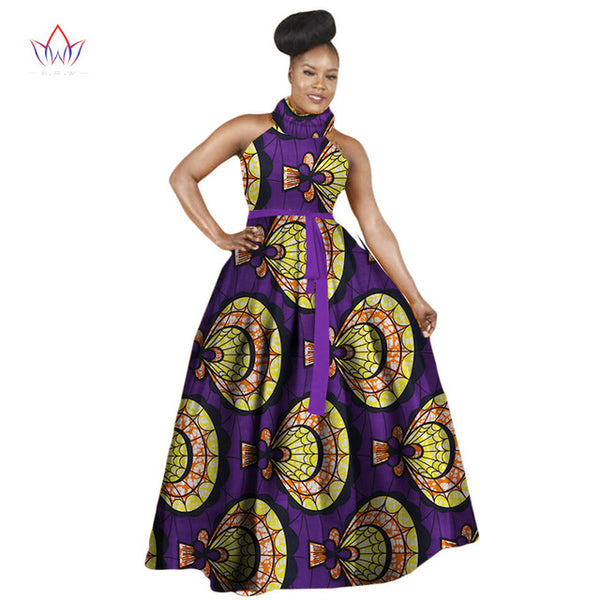 Women Dress Casual African Print Dresses Big Size M-6XL Sleeveless Halter Dress Ladies Dashiki Long Dress - African Clothing Online