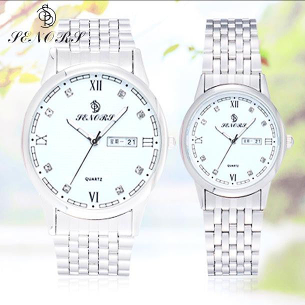 1Pair Couples Crystal Rhinestore Watch Stainless Steel Band Quartz Watch