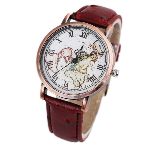 african-clothing-online,Women's Map Wristwatch Retro Watch,African Clothing Online,ArtWork