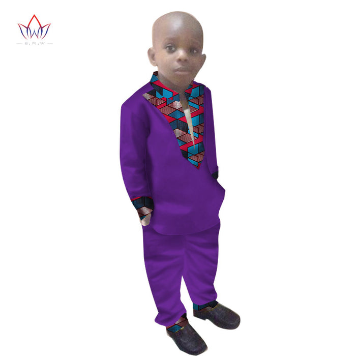 Boys Clothes African Dashiki Kids Clothing LongoingSleeves Plus Solid Color Long Pant for Children WYT108
