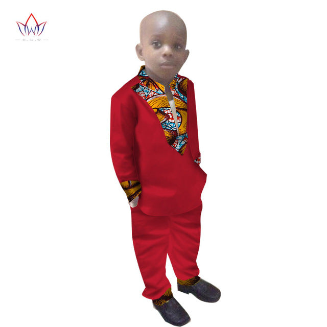 Boys Clothes African Dashiki Kids Clothing LongoingSleeves Plus Solid Color Long Pant for Children afcol304 - African Clothing Online
