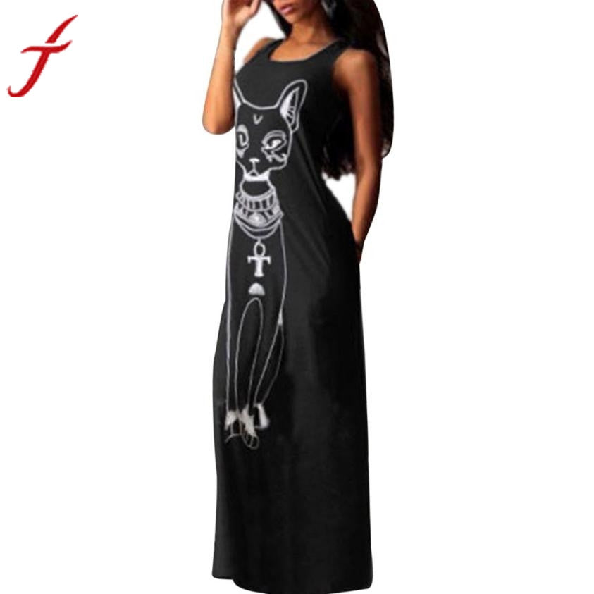 FEITONG Boho Long Dress Women Cute Cat Printed Maxi Dress Casual Sleeveless Long Party Ankle-Length Beach Dresses - African Clothing Online