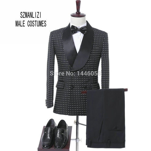 african-clothing-online,Men Black Double Breasted  Suit With Pants Tuxedo For Men,African Clothing Online,pant
