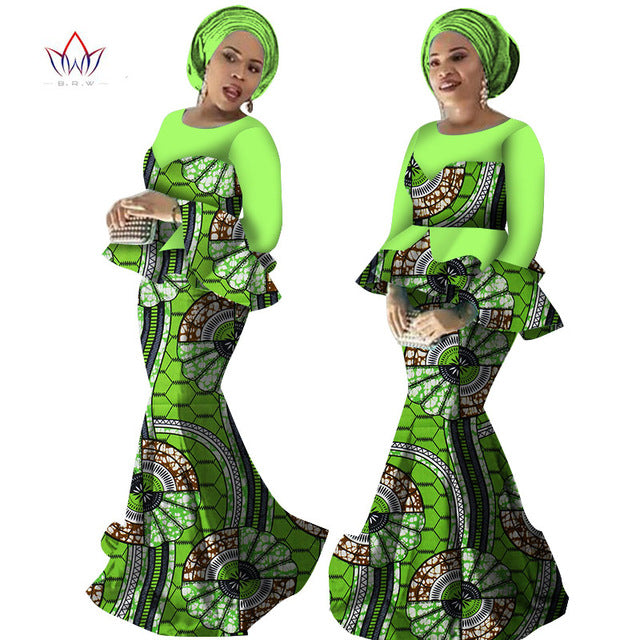 african-clothing-online,2018 spring Skirt Set African Designed Traditional Print Clothing Plus Size Skirt Set Evening dress with Free Head Scarf,African Clothing Online,African Dresses and Skirts