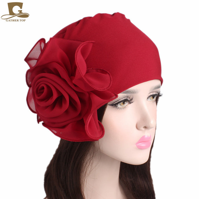 New women king size Flower Stretchy Beanie Turban Bonnet Chemo Cap For Cancer Patients Ladies Bandanas African Head wrap - African Clothing Online