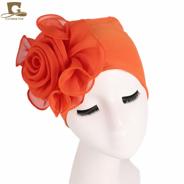 african-clothing-online,New women king size Flower Stretchy Beanie Turban Bonnet Chemo Cap For Cancer Patients Ladies Bandanas African Head wrap,African Clothing Online,
