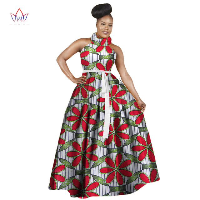 Women Dress Casual African Print Dresses Big Size M-6XL Sleeveless Halter Dress Ladies Dashiki Long Dress