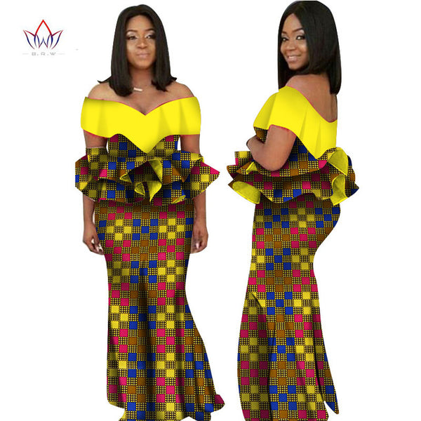2018 Autumn african dresses for women  Fashion Design dashiki women dress bazin riche slash neck long dress natural  6xl WY2236 - African Clothing Online