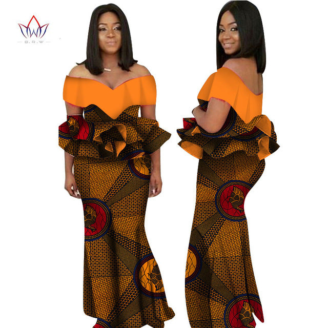 african-clothing-online,2018 Autumn african dresses for women  Fashion Design dashiki women dress bazin riche slash neck long dress natural  6xl WY2236,African Clothing Online,African Dresses and Skirts