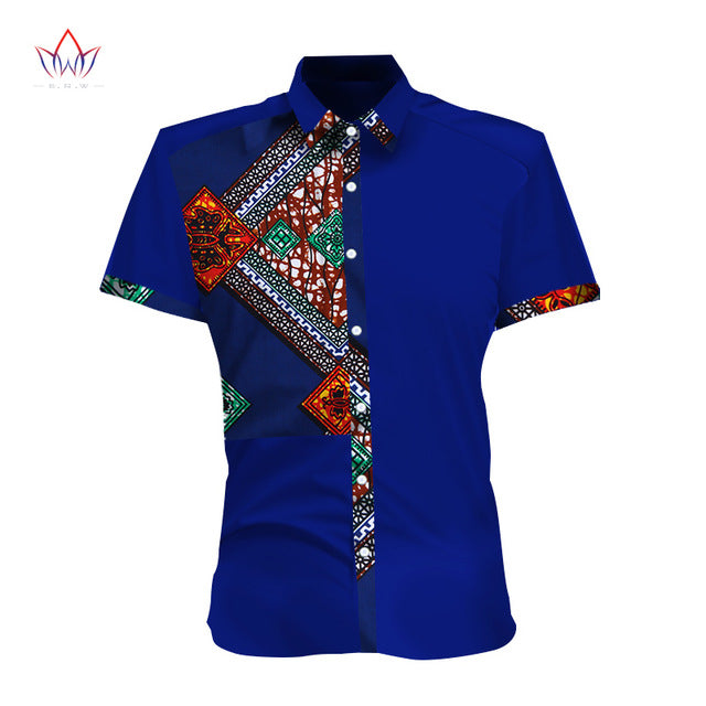Spring New Design Mens Short Sleeve Slim Fit African Print Casual Style Shirts
