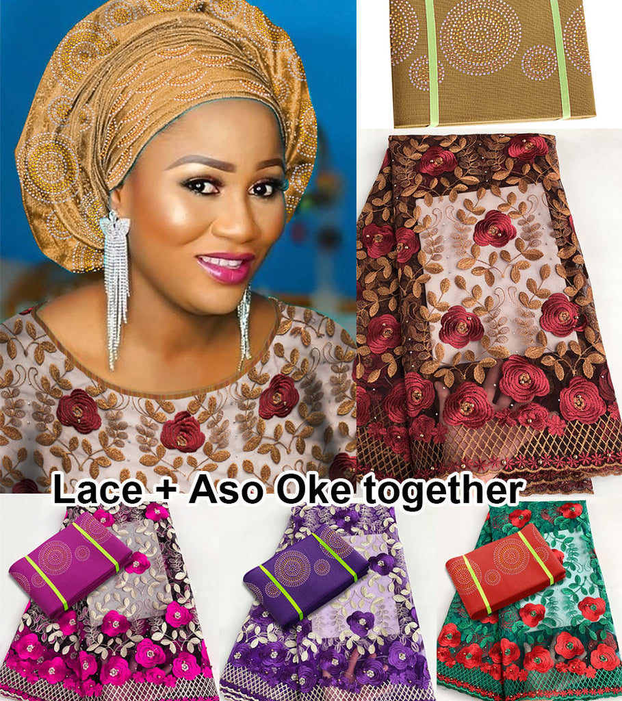 5 yards African French lace Nigerian tulle fabric Matching Dubai Round Stones ASO OKE Headtie Full Length Headwrap Head Tie Gele - African Clothing Online