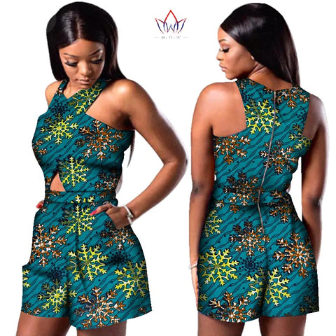 Bazin African Wax Print Dashiki Jumpsuit Plus Size Sleeveless Romper Jumpsuit shorts - African Clothing Online