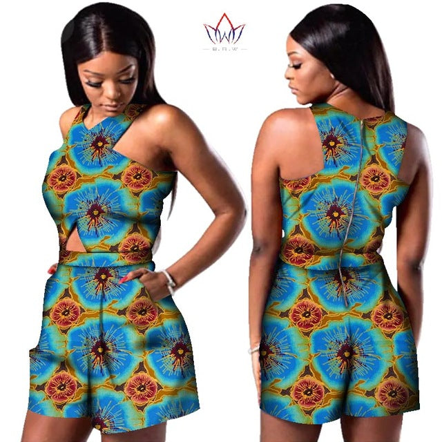 african-clothing-online,Bazin African Wax Print Dashiki Jumpsuit Plus Size Sleeveless Romper Jumpsuit shorts,African Clothing Online,shorts