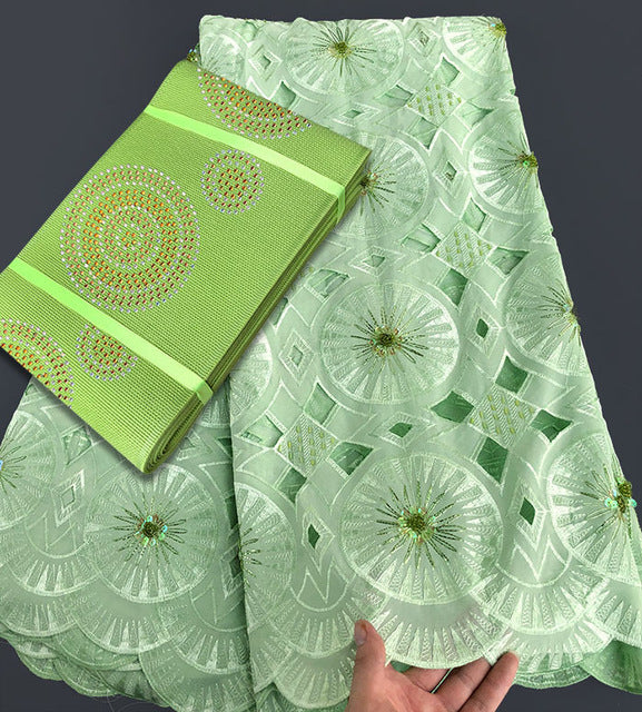 Soft 5 yards lemon green Hancut African Swiss voile lace matching Aso Oke Headtie Gele with lots of sequins crystal beads - African Clothing Online