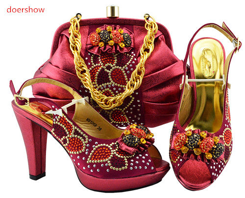 African Women Italian Shoes and Bag Set Decorated with Rhinestone