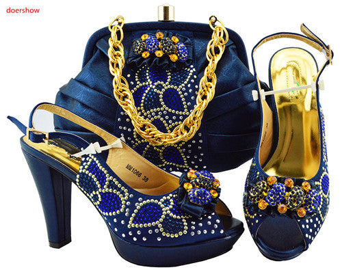 African Women Italian Shoes and Bag Set Decorated with Rhinestone - African Clothing Online