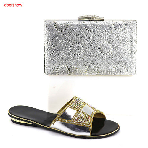 Silver Italian Ladies Shoes and Bag Set Decorated with Rhinestone