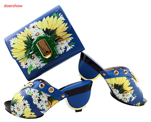 Italian Shoes with Matching Bags Rhinestone Party Shoes blue - African Clothing Online