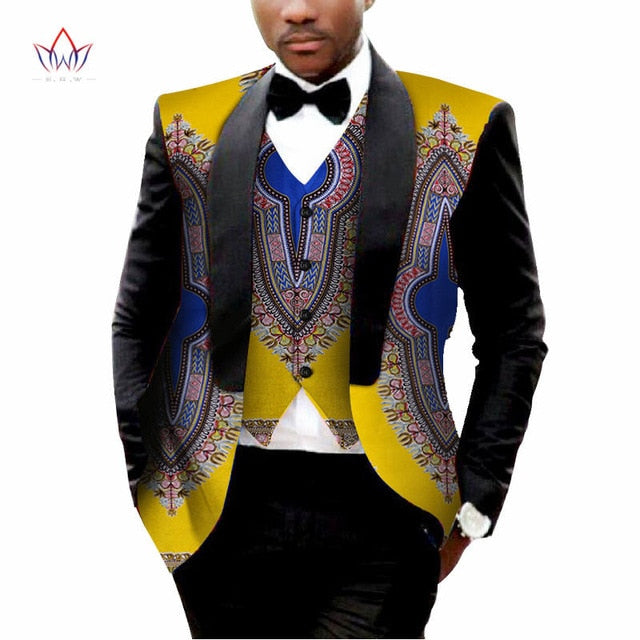 African Mens Printed Blazer Men Jacket + Vest Fashion Slim Suits Dashiki Men Large Size 6XL Blazer