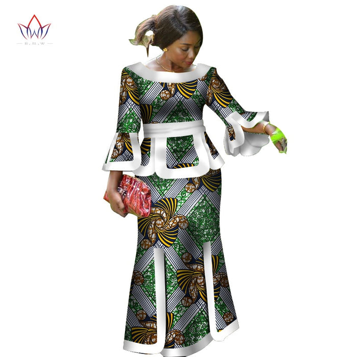 Africa Two Piece Set For Women Fashion  Dashiki Wrist Sleeve African Clothes Bazin Plus Size Lady Clothing for Party