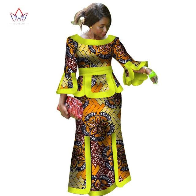 african-clothing-online,Africa Two Piece Set For Women Fashion  Dashiki Wrist Sleeve African Clothes Bazin Plus Size Lady Clothing for Party,African Clothing Online,