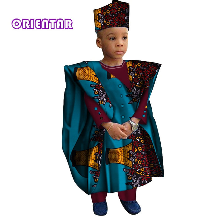 African Clothes with Head Scarf Kids Boy Tops and Pants African Print Long Sleeve Shirt Children Bazin Riche Dashiki Gown