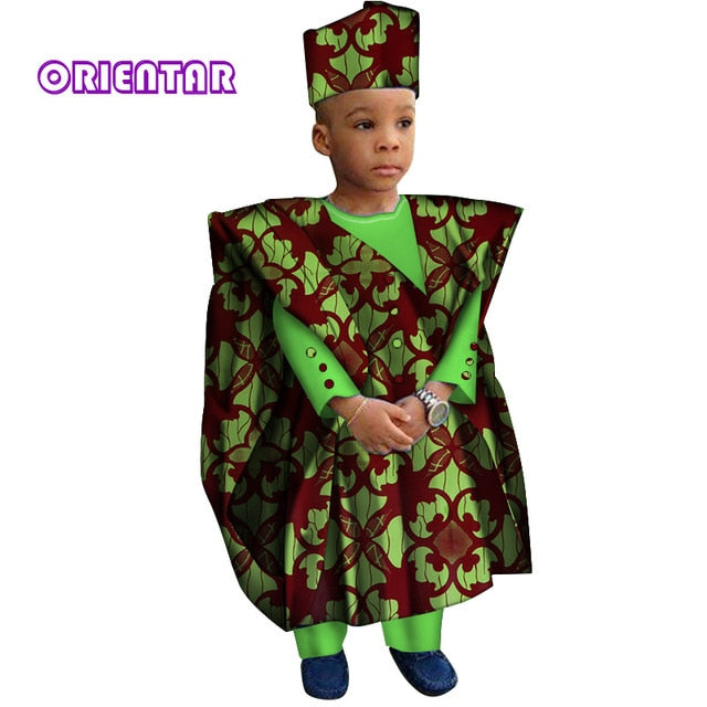 african-clothing-online,African Clothes with Head Scarf Kids Boy Tops and Pants African Print Long Sleeve Shirt Children Bazin Riche Dashiki Gown,African Clothing Online,