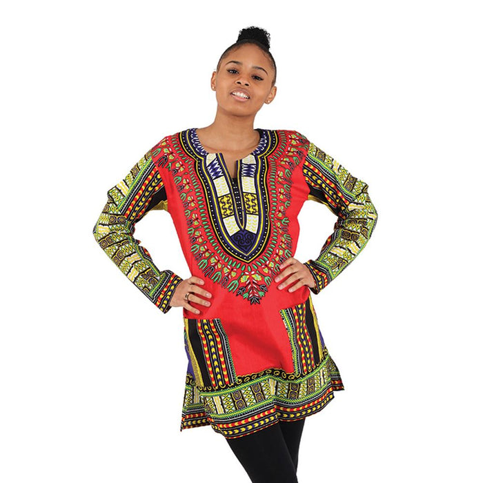 african-clothing-online,Traditional Print Long-Sleeve Dashiki,Africa Imports,Dashiki