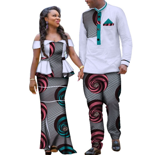 wedding Two Piece Set African Dashiki Print Couple Clothing for Lovers Men's shirt and pant Blazer Women's Party Dress AFCOL130