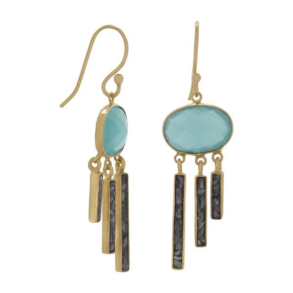 Deelytes Jewelry Collection  - 14 Karat Gold Plated Glass and Diamond Chip Drop Earrings