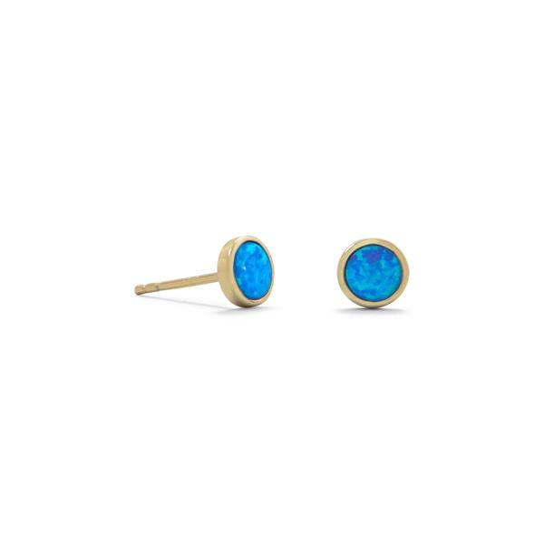 Deelytes Jewelry Collection 14 Karat Gold Plated Synthetic Blue Opal Studs