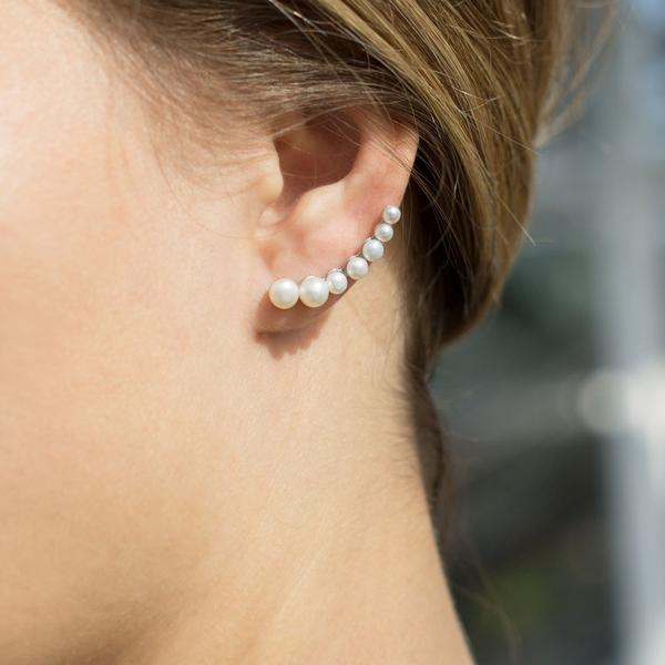 Deelytes Jewelry Collection - Rhodium Plated Graduated Cultured Freshwater Pearl Ear Climbers, Ear climber earrings get their name from the way they are positioned on the ear. These earrings start at the base and curve up your ear, usually creating the illusion of multiple earrings at once.