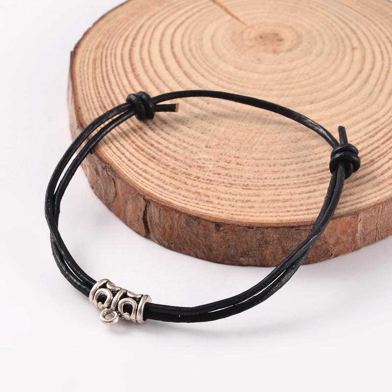 Black Adjustable Leather Cord Bracelet With Charm - deelytes-com
