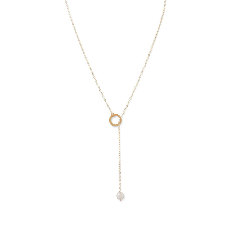 14 Karat Gold Lariat Necklace with Cultured Freshwater Pearl End - deelytes-com