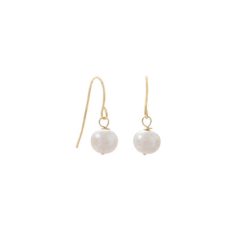 14 Karat Gold Cultured Freshwater Pearl French Wire Earrings - deelytes-com