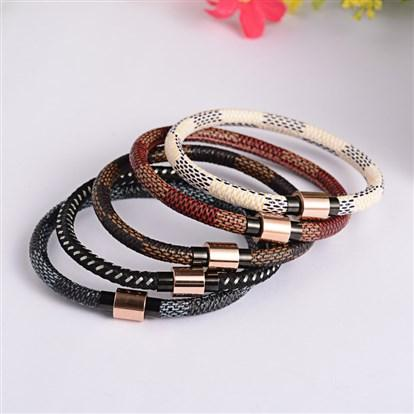 5mm PU Leather Cord Bracelets Stainless Steel Magnetic Clasps