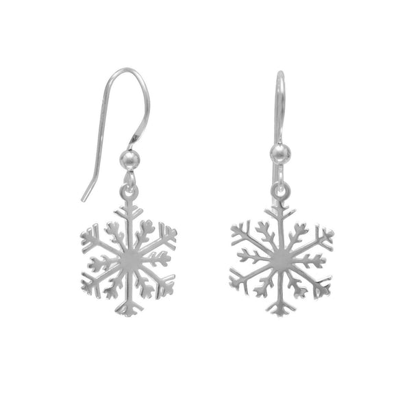 Small Snowflake Sterling Silver Earrings - deelytes-com