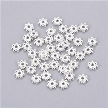 100pcs 4mm Silver Plated Daisy Flowers Spacer Beads Jewelry Craft Top Quality - deelytes-com