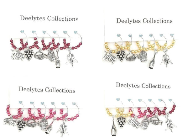 Red, White, Rose, Wine Lover Themed Wine Glass Charms, Vineyard Markers, 6pc Set - deelytes-com